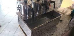 Cafeteira e Leiteira elétrica industrial esterilizador de copos  3 bules