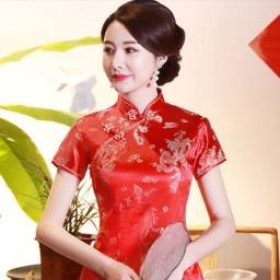 Vestido Chinês Longo Alta Qualidade, Alonga silhueta, Postura elegante, Quaisquer ocasiões