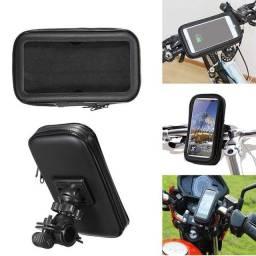 Suporte de Guidão c/ capa bolsa aprova d'água para Moto e bicicleta