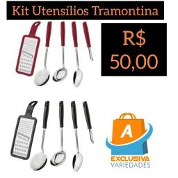 Conjunto Utensílios 5 Peças Inox Tramontina + Entrega Grátis
