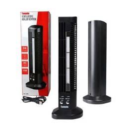 Mini Ventilador e Abajur Base Vertical MLF-002 Tomate USB Torre Led 2 Velocidades Preto