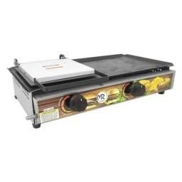 Chapa  bifeteteira para lanche com prensa 2 Queimadores 30x60 - A Gás