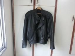 Jaqueta de Motoqueiro Preta Couro Legítimo