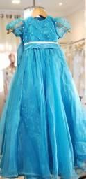 Vestido infantil azul turqueza