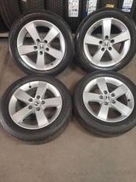 """Jogo de roda New civic aro 16"""" original 2007 5x114 com pneus"""