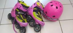 Patins OXER ABEC-7 TAM 32 a 35 e capacete CICLONE