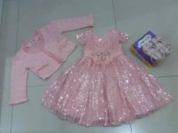 Kit vestido infantil sapatinho e bolero