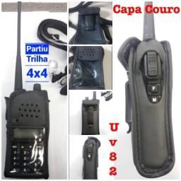 Capa case couro rádio comunicador uv82