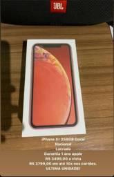 Iphone xr 256 gb coral - novo lacrado, nacional
