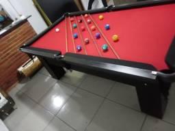 Mesa de Caçapa de Rede   Mesa Preta   Tecido Vermelho   Borda Preta   Modelo: MEUX7032