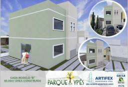 Casa 2 quartos, lavabo, churrasqueira, doc grátis, 100% financiada, Bairro Novo Jaraguá