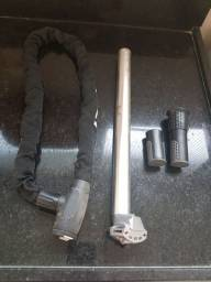 cadeado corrente+punhos+ base do selim