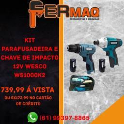 Kit Parafusadeira E Chave De Impacto 12v Wesco Ws1000k2