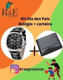 Campos - RJ. Presente dia dos pais! Kit relógio + carteira em couro legítimo