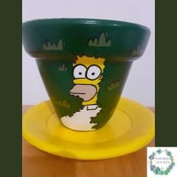 Vaso do Homer Simpsons. De cerâmica, pitado à mão.