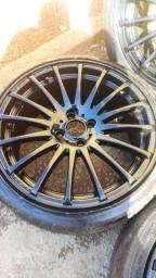 Vendo jogo de rodas Aro 17 com pneus GTR Racing 4x100