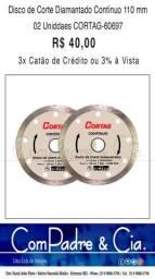 02 Disco de Corte Diamantado Contínuo 110mm - Cortag