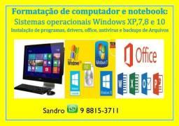 1. Formatação de Notebooks & Computadores: (Serviço Com Garantia)