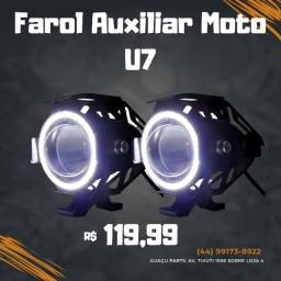 Par Farol Milha Led U7 Angel Eyes 20w 6000k 12v Moto + Botão