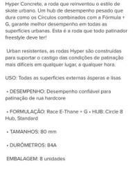 Roda De Patins Hyper Concret + Grip 80mm 84a 8unidades