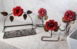 Kit para banheiro com rosas