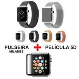 Pulseira Estilo Milanês P/ Apple Watch 42mm + Película 5D