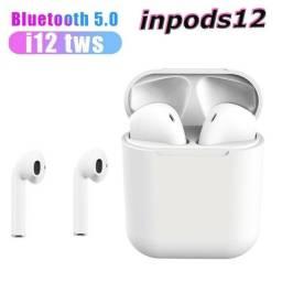 Fone De Ouvido Bluetooth Sem Fio I12 Branco fosco Compatível IOS iPhone Android