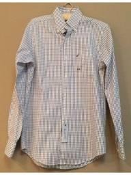camisa social nautica modelo slim fit original xadrez base branca e frisos azul marinho