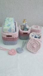 Kit higiene para bebê em fio de malha