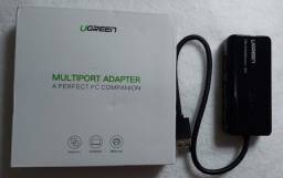 Adaptador Ugreen  hub usb 2.0, com entrada para rj45 lan 10/100mbps