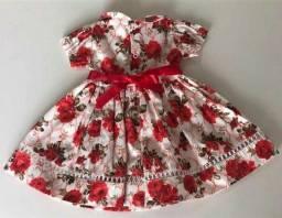 Vestido de bebê c/Bolero e tiara 100% algodão