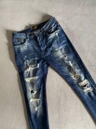 Calça Jeans Zara Skinny Destroyed Tam 38