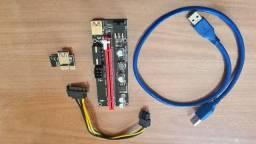 Placa Riser VER009s PCI-E 1X com Cabo USB Extensor de 60cm (12 disponíveis)