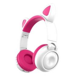 Headphone De Gatinha Fone De Gatinho  Branco e Rosa Original
