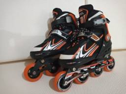 Patins Rollers InLine Aluminium Premium Laranja Bel Sports M(34-38)