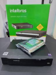 Gravador digital de vídeo DVR Intelbras de 4 canais + hd de 250gb - seminovo