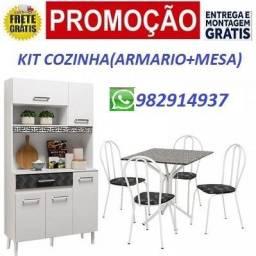 Preço Bom Demais!! Kit Cozinha Armario+Conjunto de Mesa Apenas 899,00