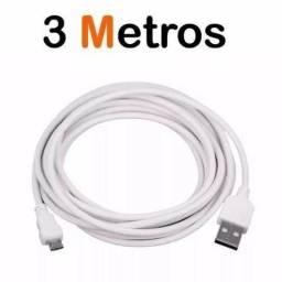 Cabo de dados carregador turbo 3 amperes 3 metros cabo PS4