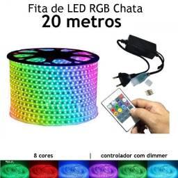 20 Metros Fita Led Chata Rgb 5050 Ip65 + Controle com Memória