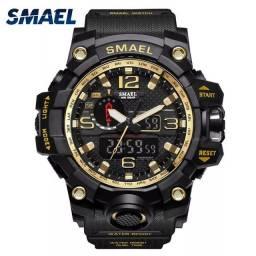 Relógio militar SMAEL (50M) Original - Preto/Dourado