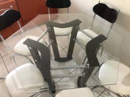 Mesa sextavada de 6 lados iguais 6 cadeiras