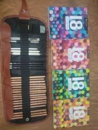 Kit de desenho profissional + kit de lápis de cor profissional