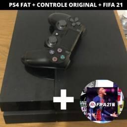 PS4 FAT + CONTROLE ORIGINAL + FIFA 21
