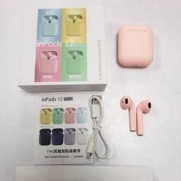 Fone Intra-Auricular Sem Fio Bluetooth i12 Pink