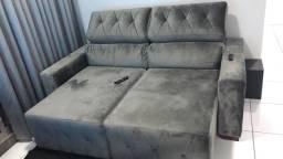 Sofá retrátil reclinável - prata