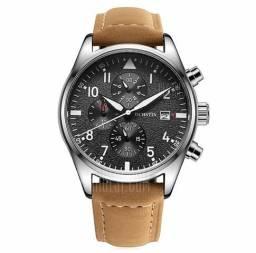 709e2462659 Relógio 100% funcional com pulseira de couro legítimo