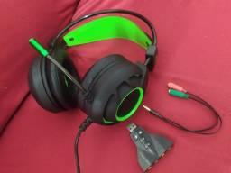 Headset Gamer + adaptador P2 + suporte USB 7.1 sound