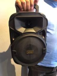 Caixa de som média KIMISO potente com entrada pra microfone 30x19cm