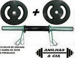 Barra 40 cm Oca + 10 KG Anilha - Por : R$ 94,90