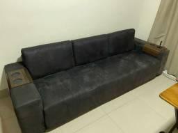 Sofa preto de camurça 2,50 x 0,80